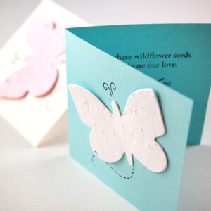 The butterfly on these Butterfly in Flight Plantable Wedding Favors will bloom into a colorful array of wildflowers when planted.