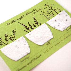 Give the gift of herbs with these Flavorful Memories Plantable Wedding Favors.