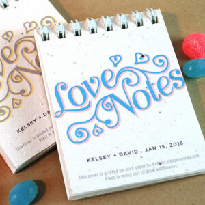 Plant the cover of these Love Notes Coil Bound Notepad Plantable Wedding Favors to grow a beautiful bouquet of wildflowers.