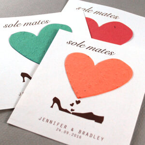 These eco-friendly Sole Mates Pastel Plantable Wedding Favors are embedded with wildflower seeds.