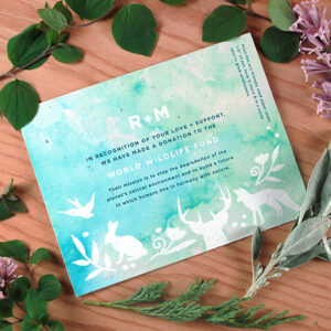 Share your passion for wildlife preservation with these eco-friendly Wildlife Watercolor Plantable Wedding Favors.