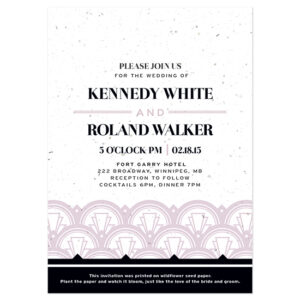 Delight guests with these Gatsby style Art Deco Plantable Wedding Invitations.