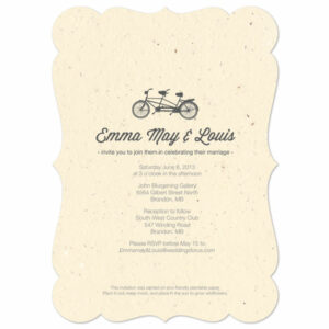 These Plantable Tandem Bicycle Wedding Invitations will grow a beautiful bouquet of wildflowers when planted.