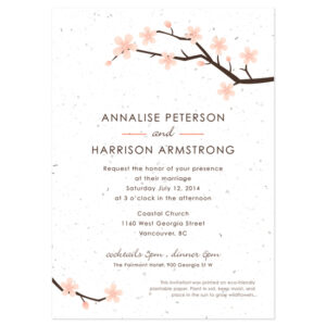 These Cherry Blossom Plantable Wedding Invitations are both unique and eco-friendly.