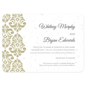 These Classic Damask Plantable Wedding Invitations will grow flowers when planted.