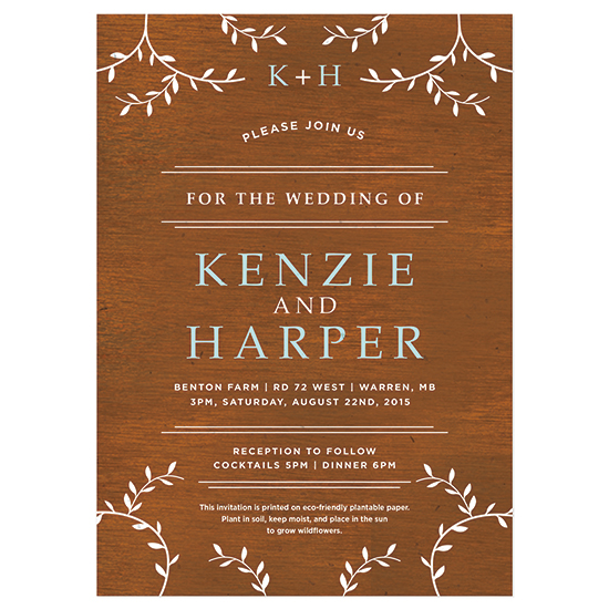 Grow a garden of wildflowers with these Classic Wood Grain Plantable Wedding Invitations.
