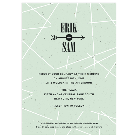 Grow a beautiful bouquet of wildflowers with these Cupid's Arrow Plantable Wedding Invitations.