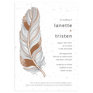 Your guests will be able to grow their own flowers with these Feather Plantable Wedding Invitations.