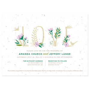 Your guests can plant these Floral Letters Plantable Wedding Invitations to grow their own bouquet of wildflowers.
