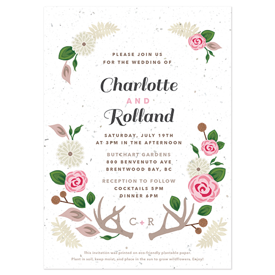 Grow flowers with these Floral Woodland Plantable Wedding Invitations.