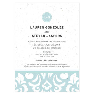 These Plantable Modern Damask Wedding Invitations will grow wildflowers when planted.