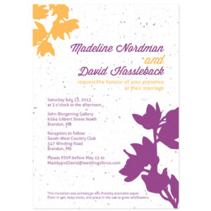 Each of these Modern Orchids Plantable Wedding Invitations will grow a beautiful bouquet of wildflowers when planted.