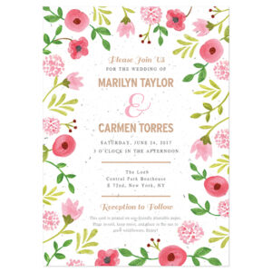 Not only are these Painterly Florals Plantable Wedding Invitations 100% unique, they're eco-friendly, too!
