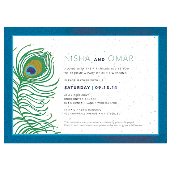 Your guests can plant these Peacock Plantable Wedding Invitations to grow a pot of colorful wildflowers.