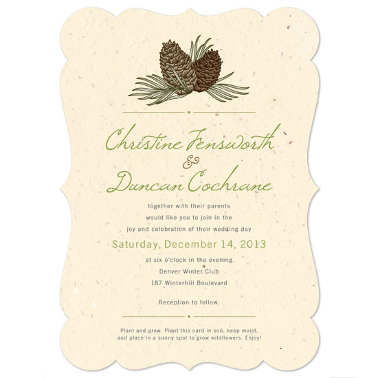 These eco-friendly Pinecone Plantable Wedding Invitations are made using post-consumer materials, and will leave no waste behind!