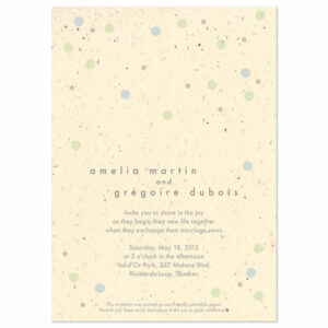 These eco-friendly Polka Dots Plantable Wedding Invitations are printed on seed paper.