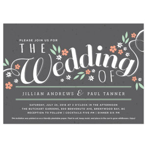 Grow beautiful wildflowers with these Secret Garden Plantable Wedding Invitations.