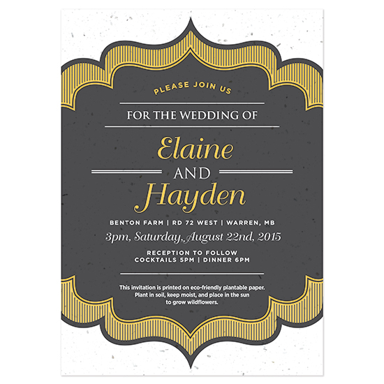 Wedding guests can grow a beautiful garden of wildflowers with these Sweet Vintage Plantable Wedding Invitations.