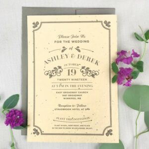 Charming and unique, the Vintage Plantable Wedding Invitations are a timeless choice that will give all your guests wildflowers to plant and grow.