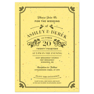 Your lucky guests can plant these Vintage Plantable Wedding Invitations and remember your special day with a blooming pot of wildflowers.