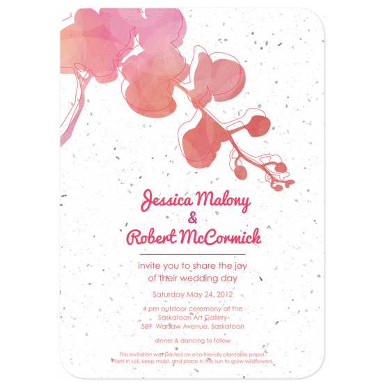 These eco-friendly Watercolor Orchids Plantable Wedding Invitations are printed on seed paper embedded with wildflower seeds.