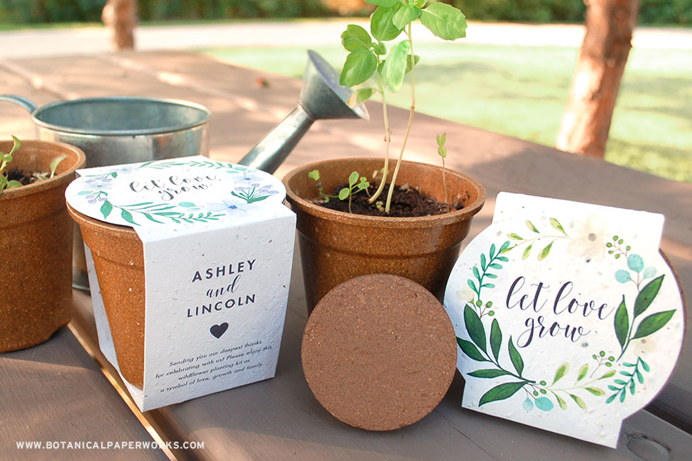zero-waste planting kit wedding favors