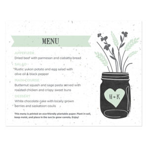 These Prairie Love Seed Paper Menu Cards are an environmentally friendly way to give your guests vegetables.