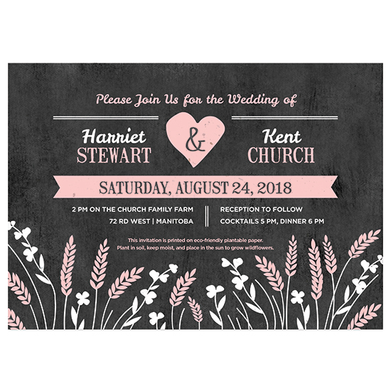 These Prairie Love Seed Paper Wedding Invitations are ideal for eco-conscious couples.