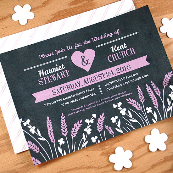 Perfect for rustic, prairie-style weddings, these seed paper wedding invitations are perfect for couple who are a little country at heart.