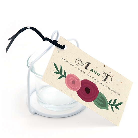A fantastic way to give guests an additional gift along with their wedding favors, these Romantic Floral Seed Paper Favor Tags can be planted to grow wildflowers after the event.