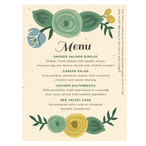 A lovely way to give guests a special gift, these Romantic Floral Seed Paper Menu Cards are perfect for couples planning an eco-friendly wedding.