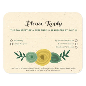 These stylish Romantic Floral Seed Paper Reply Cards are made with 100% biodegradable materials and can be planted to grow wildflowers.