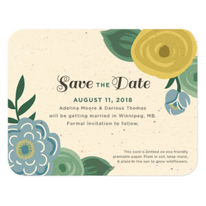 Made with post-consumer materials, these Romantic Floral Seed Paper Save The Date Cards are infused with seeds that grow when planted.