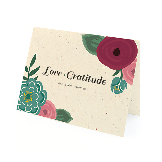 These Romantic Floral Seed Paper Thank You Cards can be planted in a pot or garden to grow wildflowers or herbs!