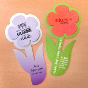 Perfect for fresh spring and summer promotions, these Rounded Flowers With Plantable Shape are a great way to grow brand awareness in a fun and unique way.