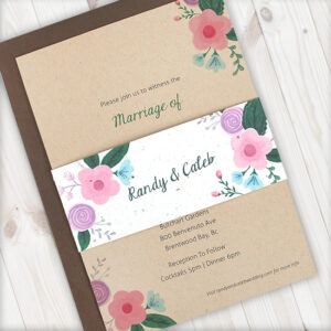 These Rustic Floral Kraft Paper Wedding Invitations With Seed Paper Band are adorned with floral charm!