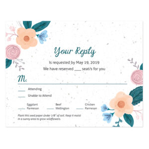 These illustrated Rustic Floral Seed Paper Reply Cards are decorated with pretty floral elements and will grow into real flowers!