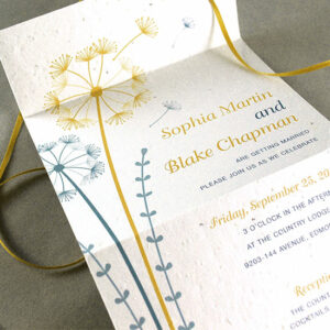 Spread seeds of love with these whimisical Dandelion Seal and Send Wedding Invitations made from plantable seed paper that will grow wildlfowers when planted..