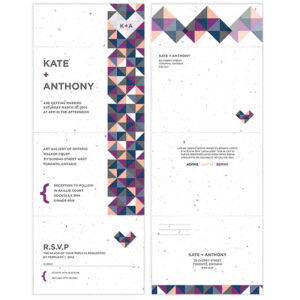These Geometric Seal and Send Wedding Invitations are colorful, fun and eco-friendly too!