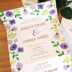 Save time and envelope hassel with these all-in-one seal and send wedding invitations. With a stunning hand painted watercolor design on eco-friendly seed paper, guests will be completely captured.