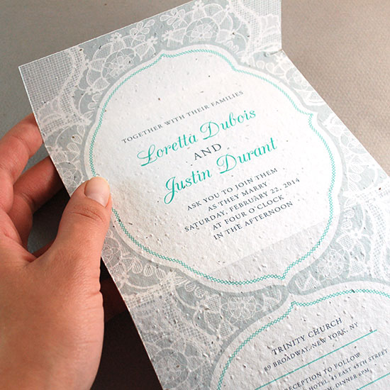 Seal and Send Wedding Invitations are the most eco-friendly invitation options around. With the RSVP and invite in one plantable piece, you won't even need to waste envelopes!