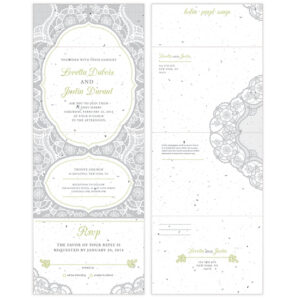 These Romantic Lace Seal and Send Wedding Invitations are printed on eco-friendly seed paper.