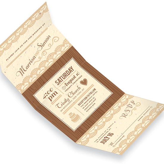 These Rustic Lace Seal and Send Wedding Invitations are printed on eco-friendly cream seed paper.