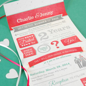 Fill in your very own love story detail in this Seal and Send Wedding Invitations made with plantable seed paper!