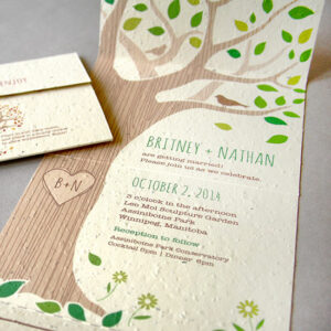 Rustic and totally charming, this plantable seal and send wedding invitation is perfect for a park wedding and includes the invite and RSVP in one eco-friendly piece. No envelopes required!