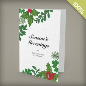 "Send Season's Greenings"" with festive business holiday cards that won't leave any waste behind."""""""