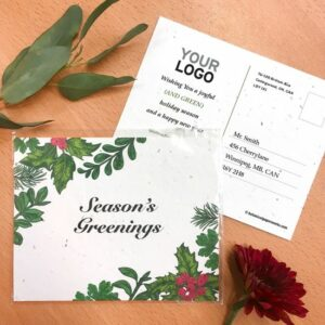 Give the gift of fresh and tasty herbs along with green holiday greetings with these budget and earth-friendly plantable holiday postcards.