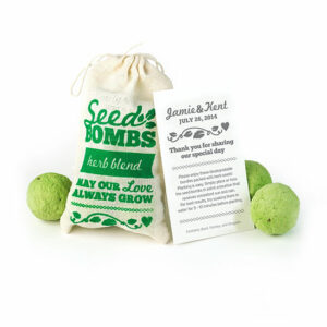 Herb Seed Bomb Wedding Favors contain 3 plantable bundles packed with seeds for your guest to plant and grow.