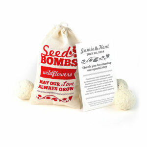 Wildflower Seed Bomb Wedding Favors contain 3 plantable bundles packed with seeds for your guests to plant and grow.