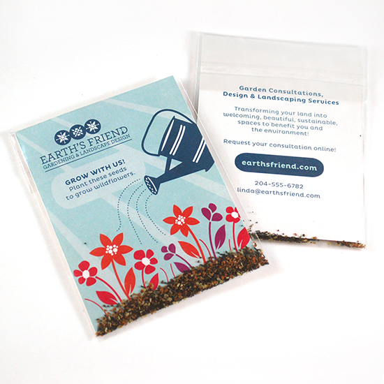Created with eco-friendly corn plastic, these Double Sided Wildflower Seed Packet Promotions are sure to make a lasting impression with clients and colleagues.